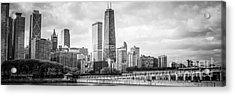 Chicago Skyline Panorama Black And White Photo Acrylic Print