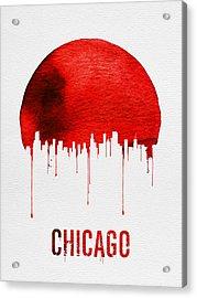 Chicago Skyline Red Acrylic Print by Naxart Studio
