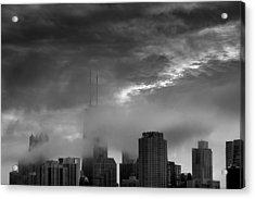 Chicago Skyline Storm B W Acrylic Print