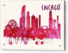 Chicago Skyline Watercolor Poster - Cityscape Painting Artwork Acrylic Print