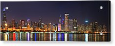 Chicago Skyline With Cubs World Series Lights Night, Chicago, Cook County, Illinois,  Acrylic Print by Panoramic Images
