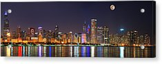 Chicago Skyline With Cubs World Series Lights Night, Moonrise, Chicago, Cook County, Illinois, Usa Acrylic Print