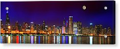 Chicago Skyline With Cubs World Series Lights Night, Moonrise, Lake Michigan, Chicago, Illinois Acrylic Print