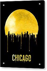 Chicago Skyline Yellow Acrylic Print by Naxart Studio
