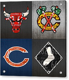 Chicago Sports Fan Recycled Vintage Illinois License Plate Art Bulls Blackhawks Bears And White Sox Acrylic Print by Design Turnpike