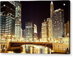Chicago State Street Bridge At Night Acrylic Print by Paul Velgos