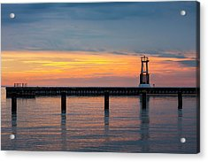 Chicago Sunrise At North Ave. Beach Acrylic Print by Adam Romanowicz