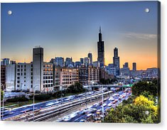Chicago Sunrise Rush Hour Acrylic Print by Shawn Everhart