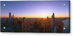 Chicago Sunset, Aerial View, Illinois Acrylic Print by Panoramic Images