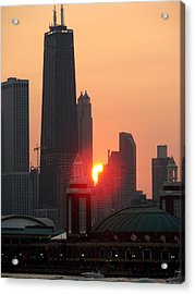 Chicago Sunset Acrylic Print by Glory Fraulein Wolfe