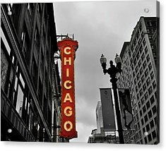 Chicago Theater In Black And White Acrylic Print