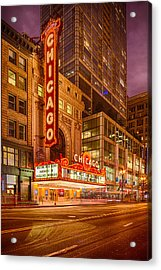 Chicago Theatre At Dusk - 175 North State Street - Chicago Illinois Acrylic Print by Silvio Ligutti
