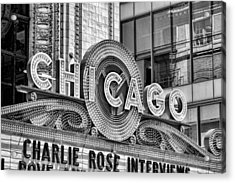 Chicago Theatre Marquee Black And White Acrylic Print