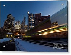 Chicago Train Blur Acrylic Print by Sven Brogren