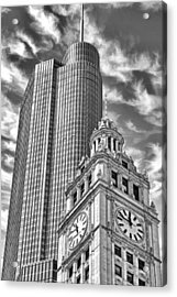 Chicago Trump And Wrigley Towers Black And White Acrylic Print