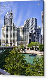 Chicago With Boat Acrylic Print by Paul Bartoszek