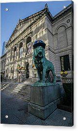 Chicago's Art Institute With Cubs Hat Acrylic Print