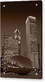 Chicagos Millennium Park Bw Acrylic Print by Steve Gadomski