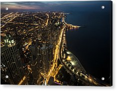 Chicago's North Side From Above At Night  Acrylic Print
