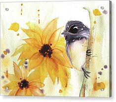 Acrylic Print featuring the painting Chickadee And Sunflowers by Dawn Derman