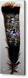 Chickadee In Blossoms Acrylic Print