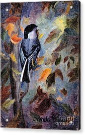 Acrylic Print featuring the painting Chickadee In The Fall by Brenda Thour