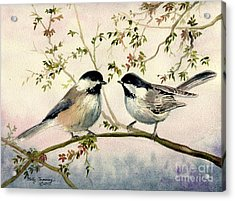 Chickadee Love Acrylic Print by Melly Terpening