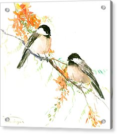 Chickadees And Orange Flowers Acrylic Print by Suren Nersisyan