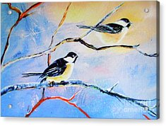 Black-capped Chickadees Limited Edition Prints 2-20 Set Decor In Wanderlust  Acrylic Print by Donna Dixon