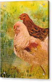 Acrylic Print featuring the painting Chicken Love by Barbara Giordano