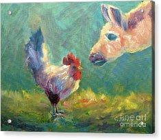 Chicken Meets Llama Acrylic Print