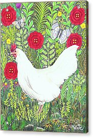 Chicken With Millefleurs And Butterflies  Acrylic Print