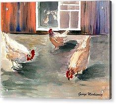 Chickens In The Barnyard Acrylic Print by George Markiewicz