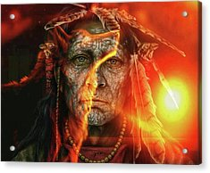 Chief Fire Acrylic Print by Tbone Oliver