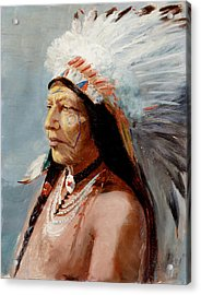Chief Flying Eagle Of The Blackfoot Tribe Acrylic Print by Lewis A Ramsey