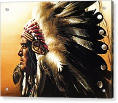 Chief Acrylic Print by Greg Olsen