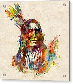 Chief Mojo Watercolor Acrylic Print by Marian Voicu