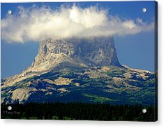 Chief Mountain, With Its Head In The Clouds Acrylic Print