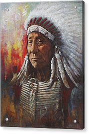 Acrylic Print featuring the painting Chief Red Cloud by Harvie Brown