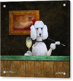 Acrylic Print featuring the painting Chien Blanc... by Will Bullas