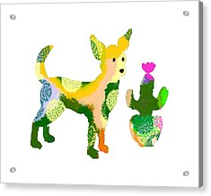 Chihuahua And Cactus Acrylic Print