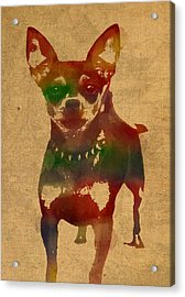 Chihuahua Watercolor Portrait On Worn Canvas Acrylic Print