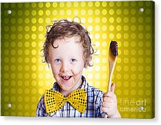 Child Holding Chocolate Covered Cooking Spoon Acrylic Print