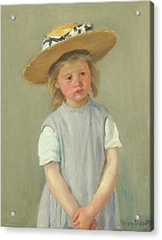 Acrylic Print featuring the painting Child In A Straw Hat By Mary Cassatt 1886 by Movie Poster Prints