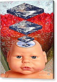 Child In Flat Worlds Acrylic Print by Keith Dillon