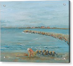 Child Playing At Provence Beach Acrylic Print by Nadine Rippelmeyer