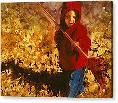 Child Raking Leaves Acrylic Print by Walt Maes