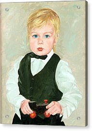 Child With A Toy Acrylic Print by Ethel Vrana