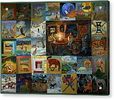 Acrylic Print featuring the painting Childhood Quilt by Dawn Senior-Trask