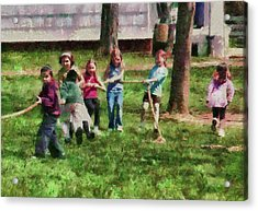 Children - Tug Of War  Acrylic Print by Mike Savad